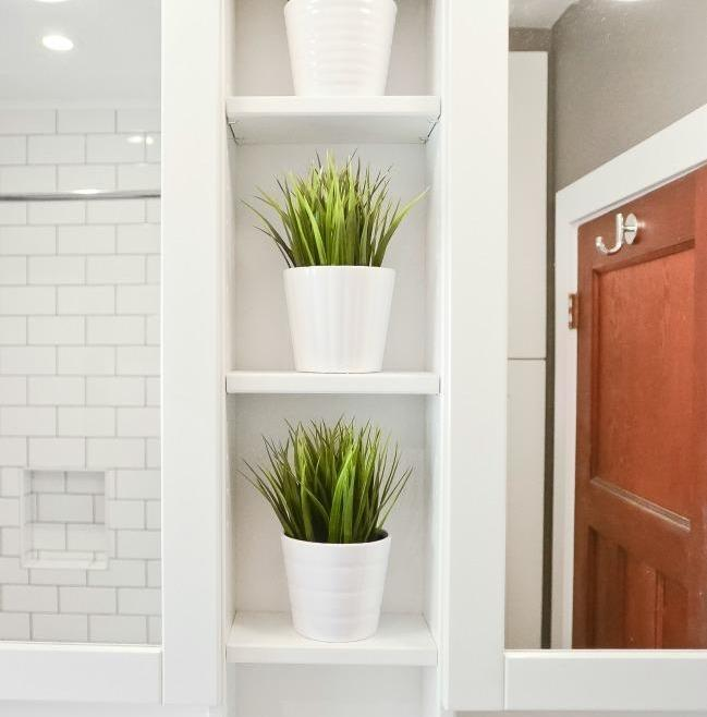 Simple and Clean Bathroom Renovation Ottawa – Shelving
